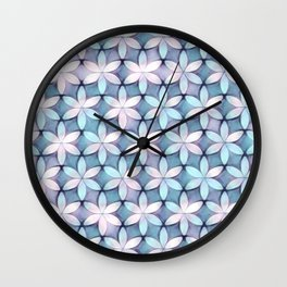 Daisies Aqua White Wall Clock