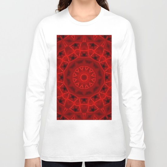Kaleidoscope Red Alien Nest Pattern Long Sleeve T-shirt