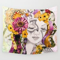 flora Wall Tapestries featuring Flora by Jenndalyn