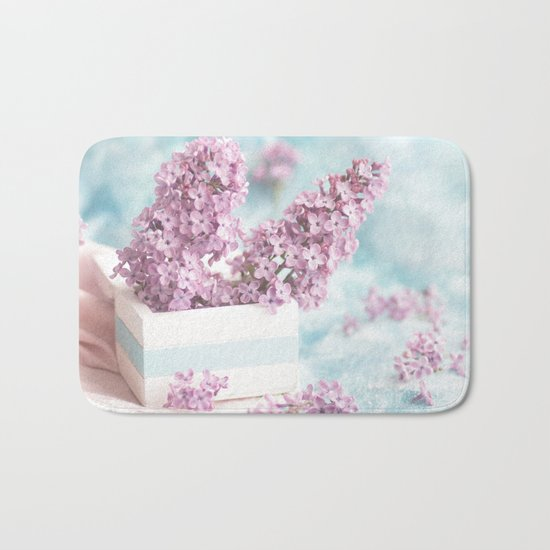 Lilac power in pastel Bath Mat