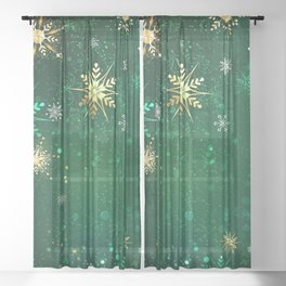 Gold Snowflakes on a Green Background Sheer Curtain