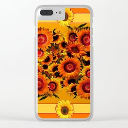 ORANGE YELLOW SUNFLOWERS ART Clear iPhone Case