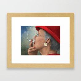 Queen of Denmark smoking a cig Framed Art Print