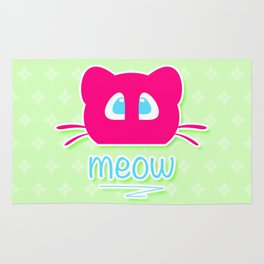Pink cat head with blue eyes. Meow =) Rug
