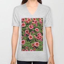 Red Pink Flowers Unisex V-Neck