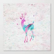 Pink and Turquoise Cute Deer Animal Watercolor Art Canvas Print