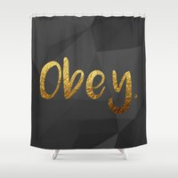 obey Shower Curtains featuring OBEY #GOLDENPSALMS by Joel Plus