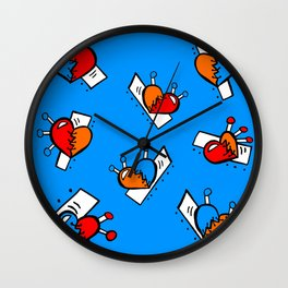 Hearts with Stitches - Blue Red Orange - Bright Blue Wall Clock