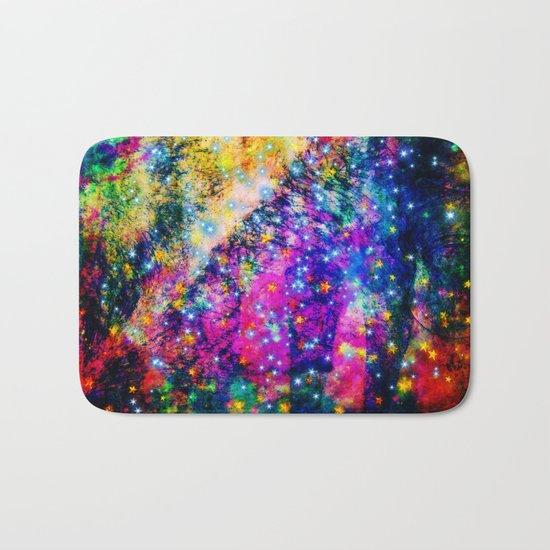 rainbow galaxy with stars Bath Mat
