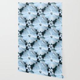 Flower-power - pastel blue flowers on a dark blue background #society6 #decor Wallpaper