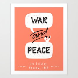 War and Peace hand lettering Art Print