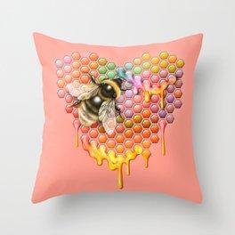 valentines heart, bumblebee, beehive Throw Pillow