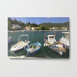 Fishing boats at Ipsos Metal Print