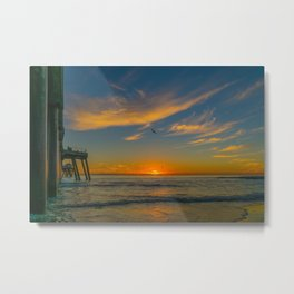 Pelican Sunset Metal Print