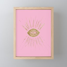 Evil Eye Gold on Pink #1 #drawing #decor #art #society6 Framed Mini Art Print
