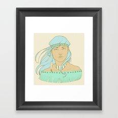 American Indian Nature Goddess in Seafoam Framed Art Print