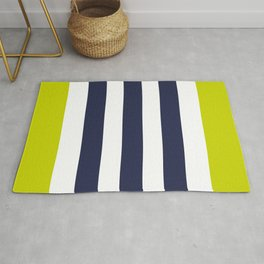 Modern Classy Navy Blue Lime Green STRIPES Rug