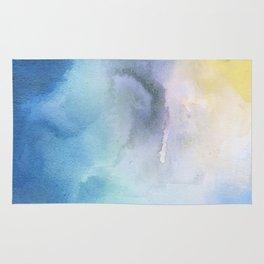 Navy blue teal lavender yellow watercolor brushstrokes Rug