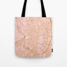 Pink and gold Madrid map, Spain Tote Bag