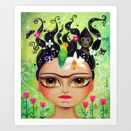 Frida connecting with nature Art Print