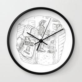 Cowboy Robbing Saloon Drawing Wall Clock