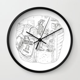 Cowboy Robbing Saloon Drawing Wall Clock
