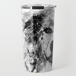 Australian Shepherd Dog Half Face Portrait Travel Mug