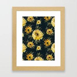 Sunflower Sparkle - black Framed Art Print