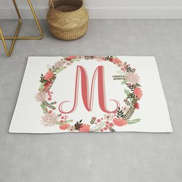 Personal monogram letter 'M' flower wreath Rug