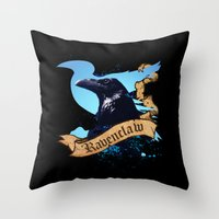 ravenclaw Throw Pillows featuring Ravenclaw by Markusian