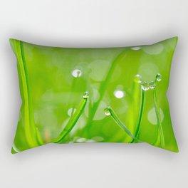 Green Grass Grows, Water droplets, Macro Fine Art Photography Rectangular Pillow