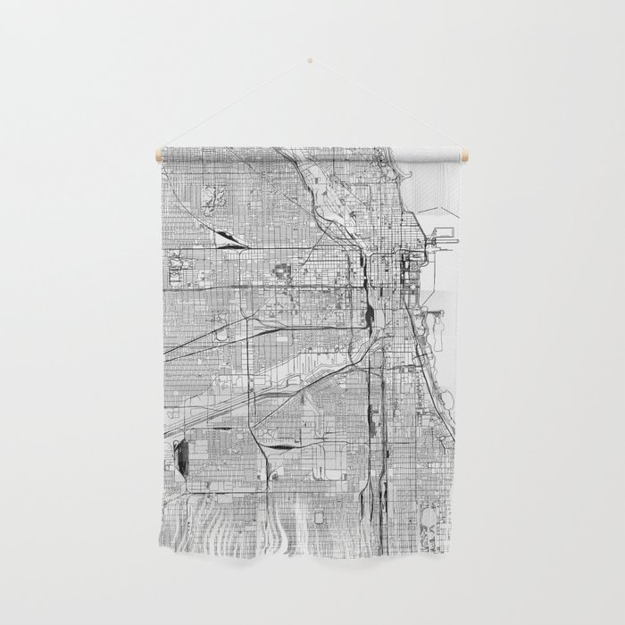 Chicago White Map Wall Hanging