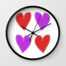 Red and Purple Hearts - 4 hearts Wall Clock