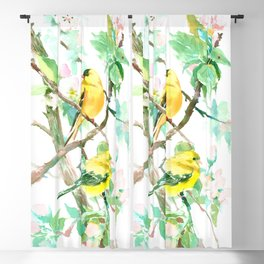 American Goldfinch and Apple Blossom Blackout Curtain