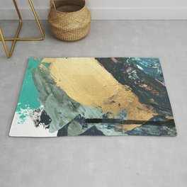 Supernova: an abstract mixed media piece in gold with blues, greens, and a hint of pink Rug