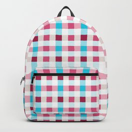 Irregular gingham check pattern in pink, blue and white Backpack
