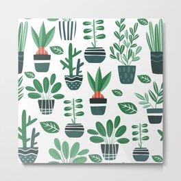 House plant pattern Metal Print