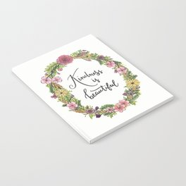 Kindness is beautiful. Watercolor floral wreath illustration. Brush lettering calligraphy. Notebook