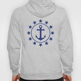 Navy Blue Anchors and Stars Nautical Pattern Hoody
