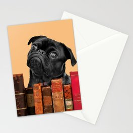 Old Books and Black Pug dog behind Stationery Cards