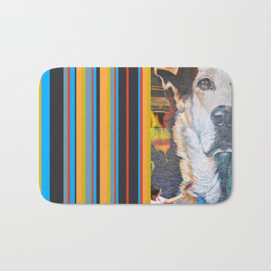 Few flowers as a tribute to the Loukanikos dog from Elisavet Bath Mat