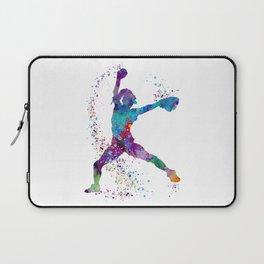 Girl Baseball Softball Pitcher Laptop Sleeve