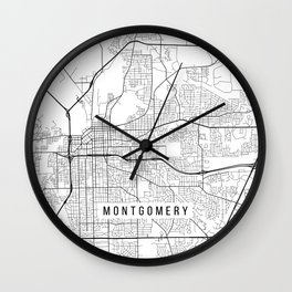 Montgomery Map, Alabama USA - Black & White Portrait Wall Clock
