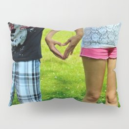 Makers of Love- A couple making a heart with their hands Pillow Sham