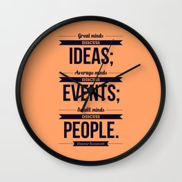 Lab No. 4 - Eleanor Roosevelt Typography Print art Inspirational Quote Poster Wall Clock
