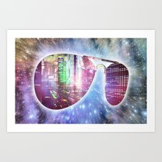 The city, the stars, and the avie shades. Art Print