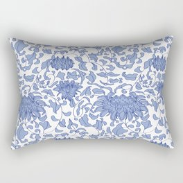 Chinoiserie Vines in Delft Blue + White Rectangular Pillow
