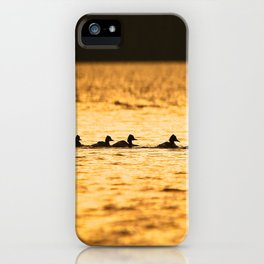 Birds Swimming At Sunset Reflection On The Lake #decor #society6 iPhone Case