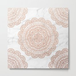 Mandala - rose gold and white marble 2 Metal Print