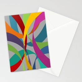 Rainbow Ribbons on Grey Stationery Cards